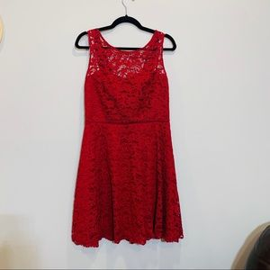 Red All Over Lace Short Sleeve Bridesmaid Dress 10